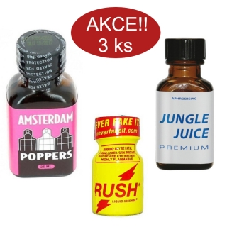 POPPERS akční set Jungle Rush Amsterdam 3ks